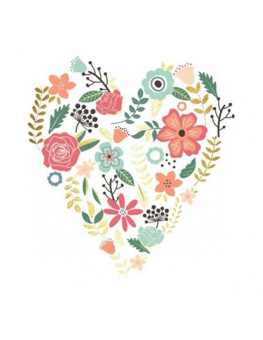 Metalické srdce s květinami -...