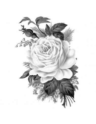 Šedá růže - nalepovací tetování