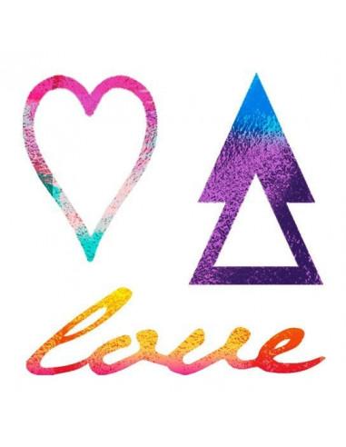 Metalické symboly LOVE - nalepovací...