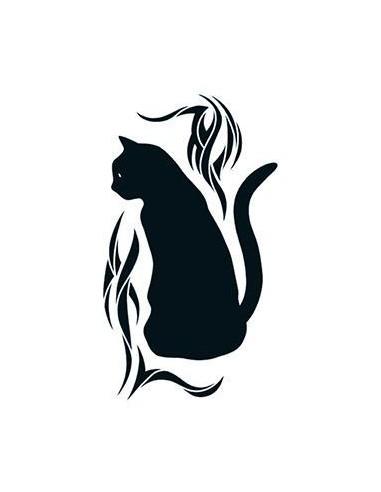 Černá kočka - tribal nalepovací tetování