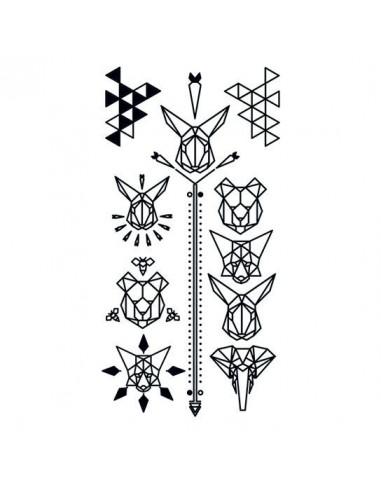 Geometrická zvířata - sada tetovaček