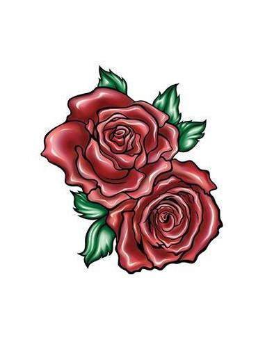 Dvě červené růže - nalepovací tetování