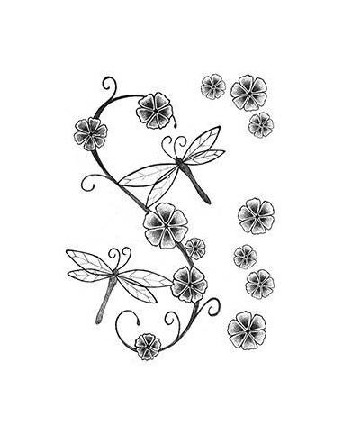 Vážky a květiny - nalepovací tetování