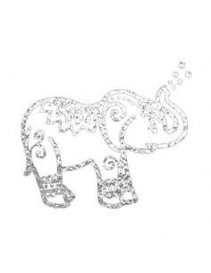 Metalický stříbrný slon -...