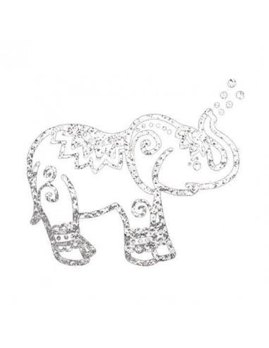 Metalický stříbrný slon - nalepovací...
