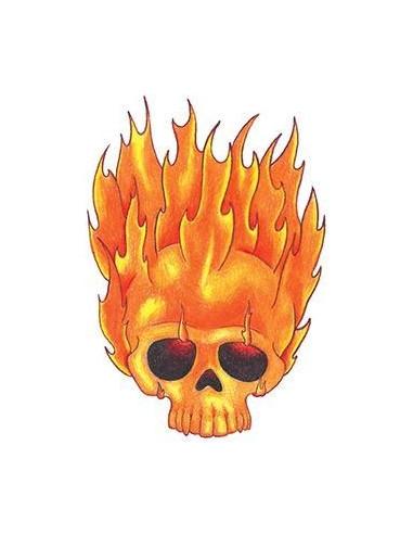 Hořící lebka - nalepovací tetování