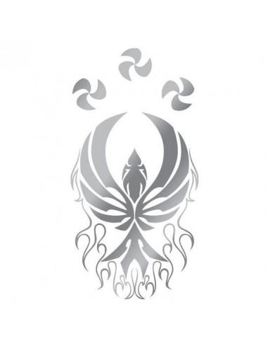 Metalický stříbrný fénix - tribal...