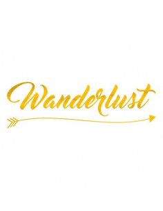 Metalický nápis Wanderlust...