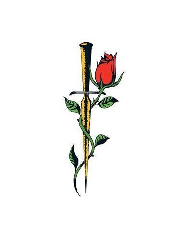 Růže s dýkou - nalepovací tetování