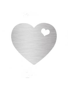 Metalické stříbrné srdce -...