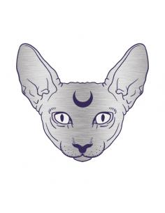 Metalická stříbrná kočka...