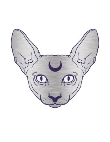 Metalická stříbrná kočka Sphynx -...