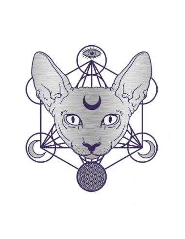 Metalická stříbrná gothic kočka...