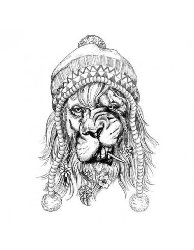 Velký černobílý hipster lev -...