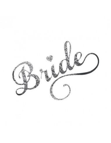 Metalický stříbrný nápis Bride -...