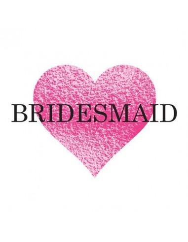 Metalické srdce s nápisem Bridesmaid...