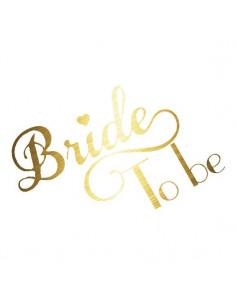 Metalický zlatý nápis Bride...
