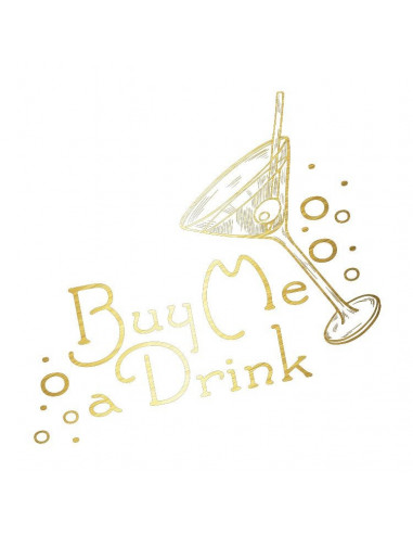 Metalický zlatý nápis Buy Me A Drink...