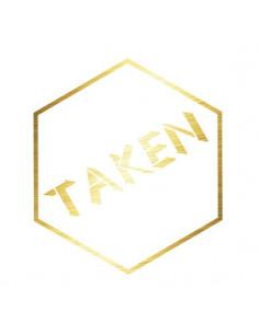 Metalický zlatý nápis Taken...