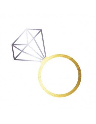 Metalický diamantový prsten -...