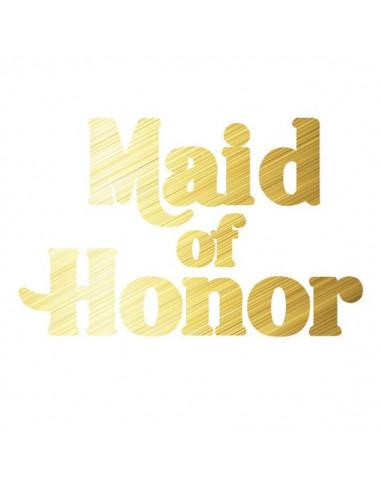 Metalický zlatý nápis Maid Of Honor -...