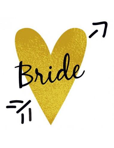 Metalické zlaté srdce s nápisem Bride...