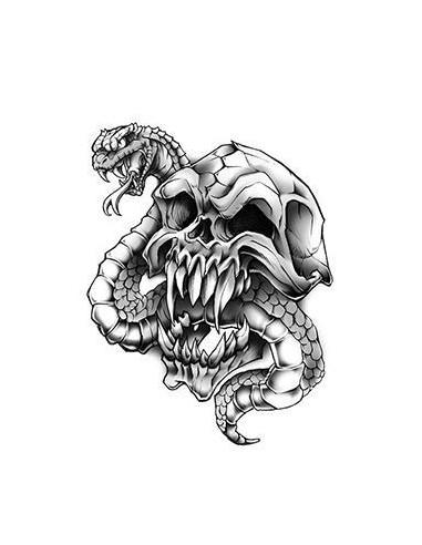 Lebka s hadem - nalepovací tetování