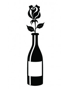 Lahev vína s růží -...