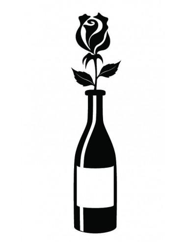 Lahev vína s růží - nalepovací tetování