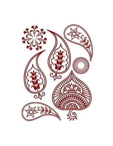 Červené květinové motivy - henna...