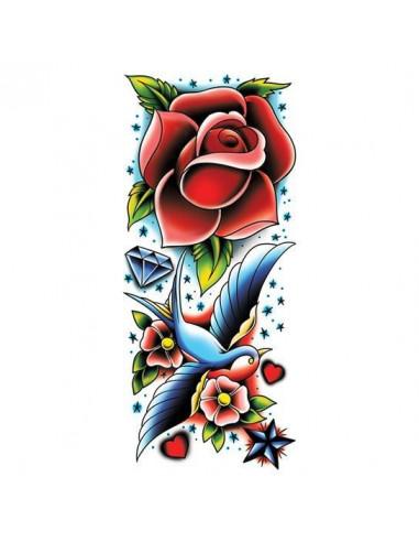 Růže a vlaštovka - velké nalepovací...