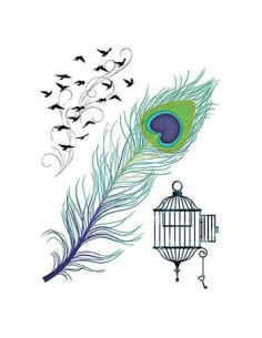 Paví pero, klec a ptáci -...