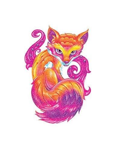 Třpytivá liška - nalepovací tetování