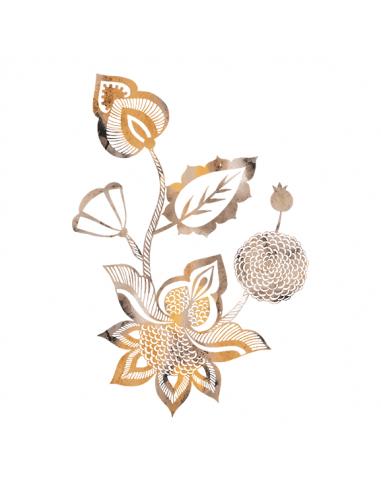 Metalická zlatá květina - nalepovací...