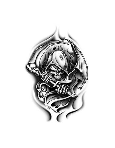 Smrtka s kosou - nalepovací tetování
