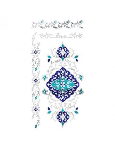 Metalické stříbrno-modré náramky -...