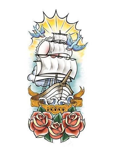 Plachetnice - velké nalepovací tetování