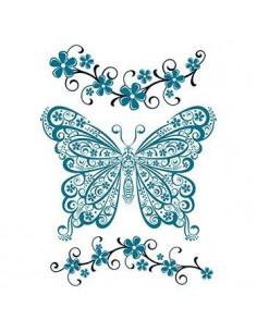 Modrý motýl a květiny -...