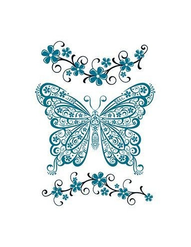 Modrý motýl a květiny - nalepovací...